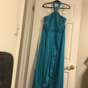 NWT: LONG MATTE CHARMEUSE DRESS WITH Y NECKLINE